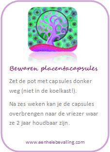 Bewaaradvies placenta capsules